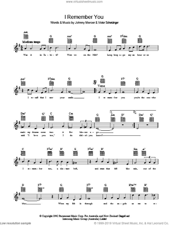 I Remember You sheet music for voice and other instruments (fake book) by Johnny Mercer and Victor Schertzinger, intermediate skill level
