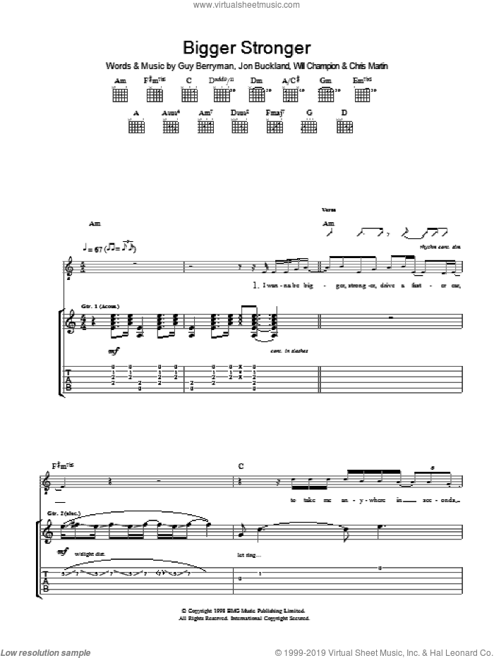 Bigger Stronger sheet music for guitar (tablature) by Chris Martin, Coldplay, Guy Berryman, Jon Buckland and Will Champion. Score Image Preview.