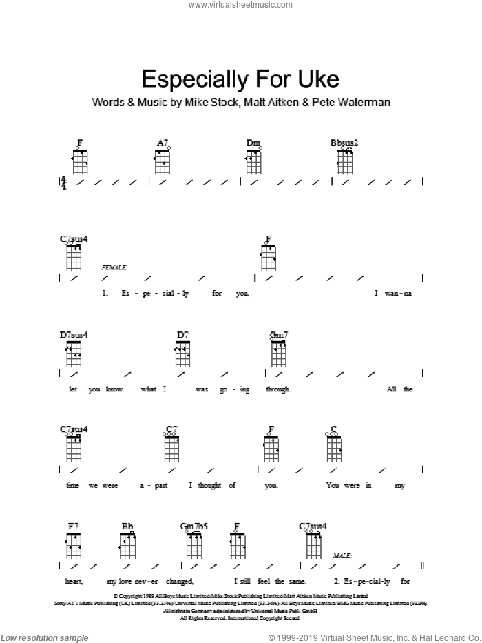 Especially For You sheet music for ukulele (chords) by Matt Aitken, Kylie Minogue and Pete Waterman. Score Image Preview.