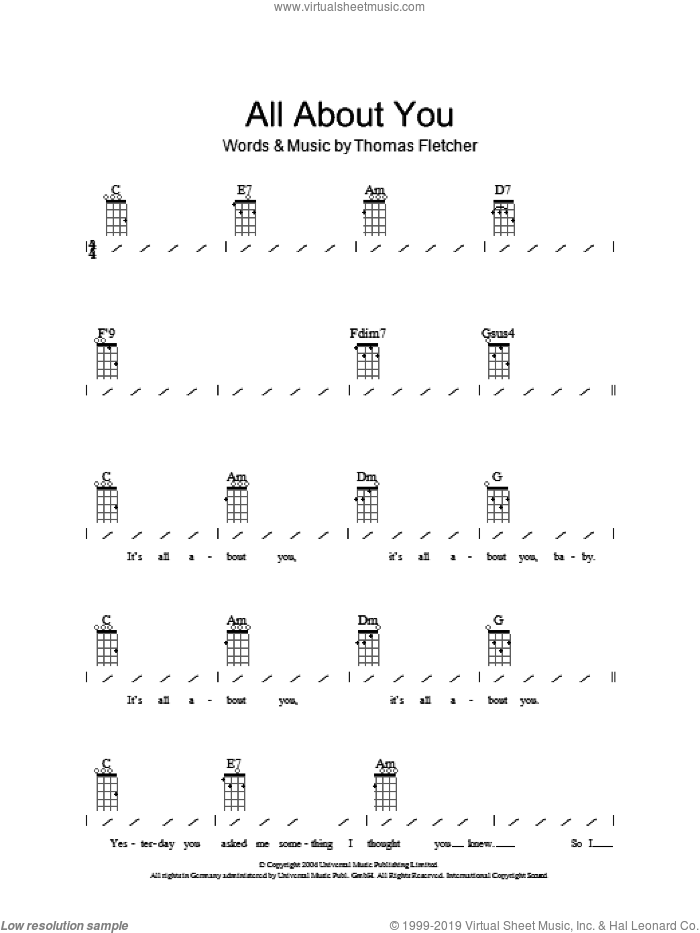 All About You sheet music for ukulele (chords) by McFly and Thomas Fletcher, intermediate skill level