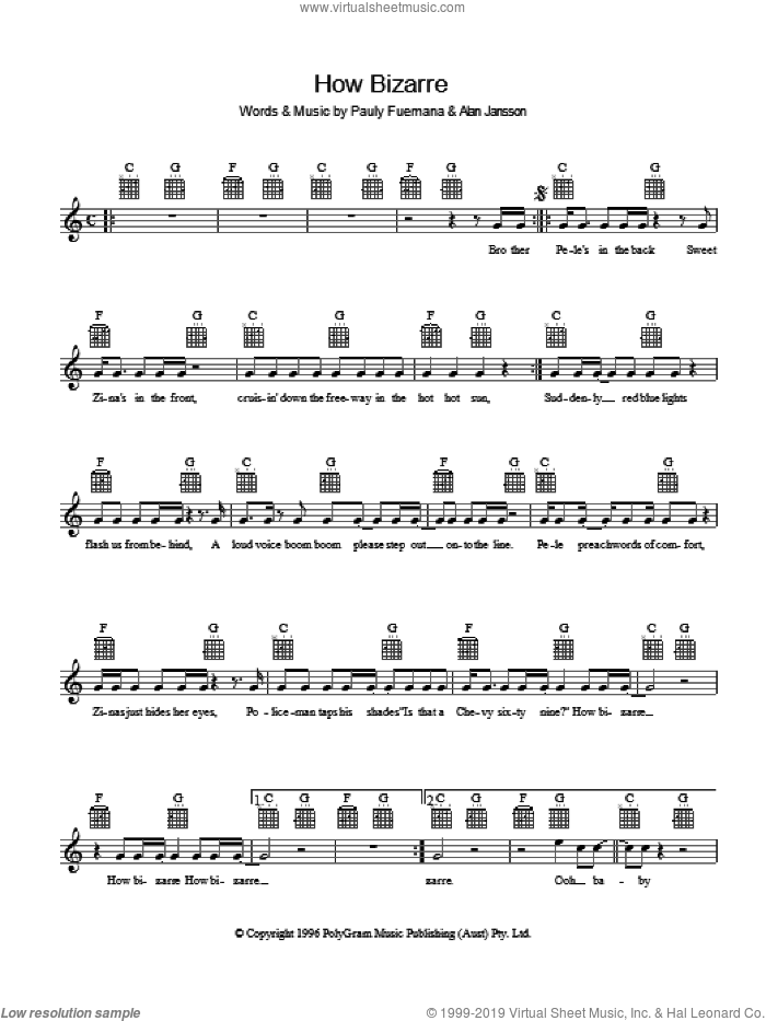 How Bizarre sheet music for voice and other instruments (fake book) by Alan Jansson and Paul Fuemana. Score Image Preview.