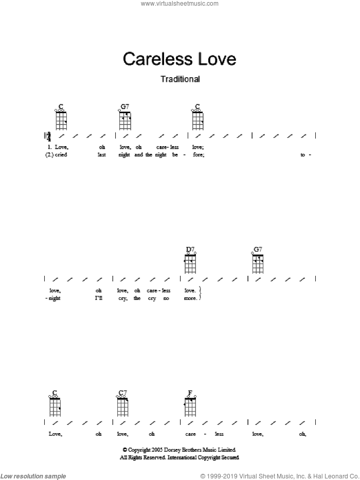 Careless Love sheet music for ukulele (chords). Score Image Preview.