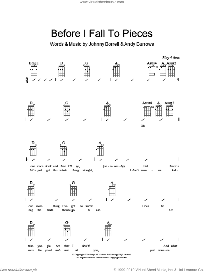 Before I Fall To Pieces sheet music for ukulele (chords) by Andy Burrows and Johnny Borrell. Score Image Preview.