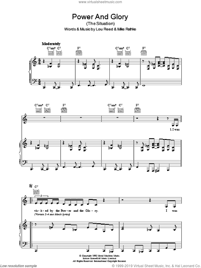 Power And Glory sheet music for voice, piano or guitar by Lou Reed and Michael Rathke, intermediate skill level