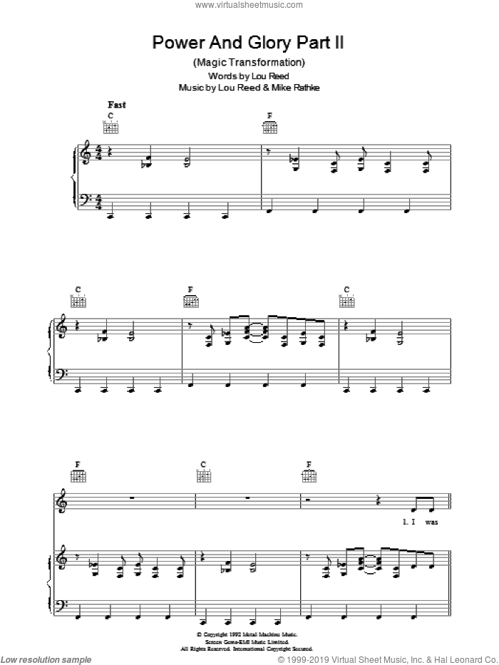 Power And Glory Part 2 sheet music for voice, piano or guitar by Lou Reed, intermediate. Score Image Preview.