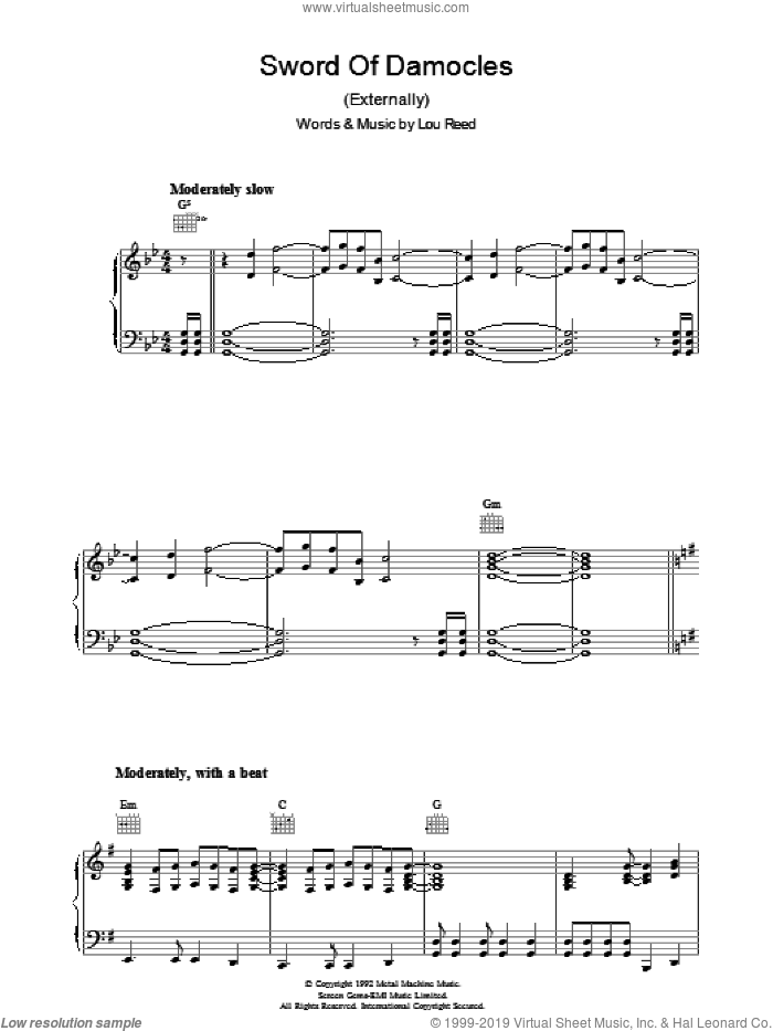Sword Of Damocles sheet music for voice, piano or guitar by Lou Reed, intermediate. Score Image Preview.