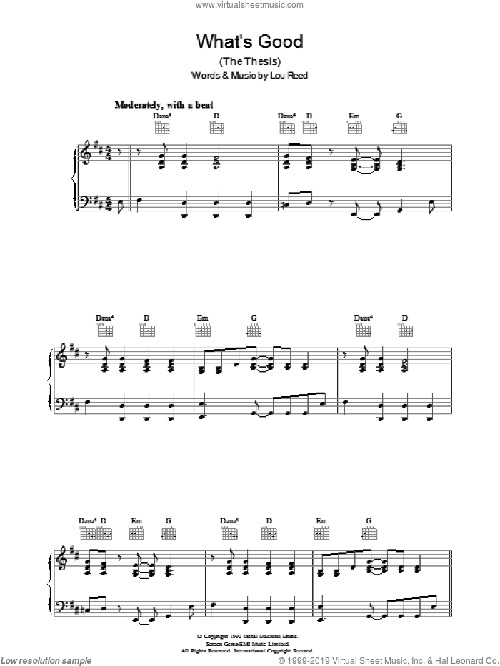 What's Good sheet music for voice, piano or guitar by Lou Reed. Score Image Preview.
