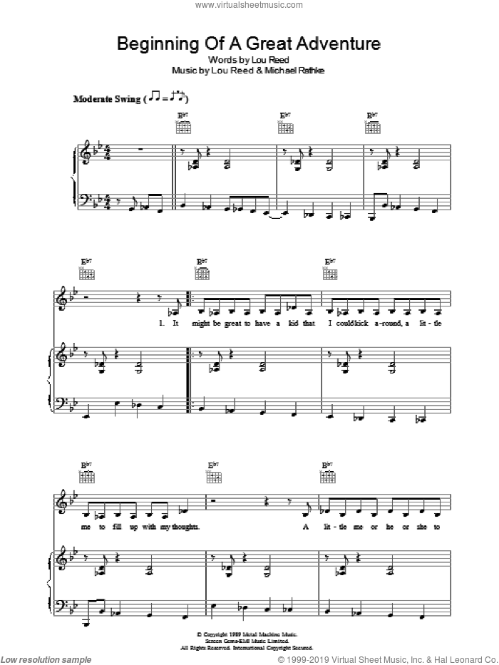 Beginning Of A Great Adventure sheet music for voice, piano or guitar by Lou Reed and Michael Rathke, intermediate. Score Image Preview.