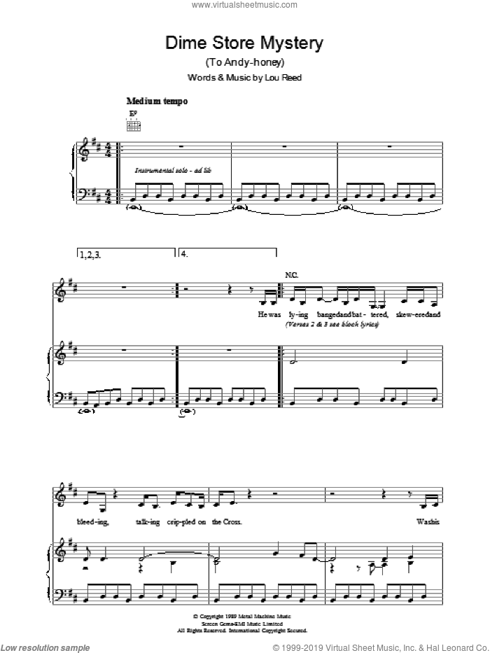 Dime Store Mystery sheet music for voice, piano or guitar by Lou Reed, intermediate skill level