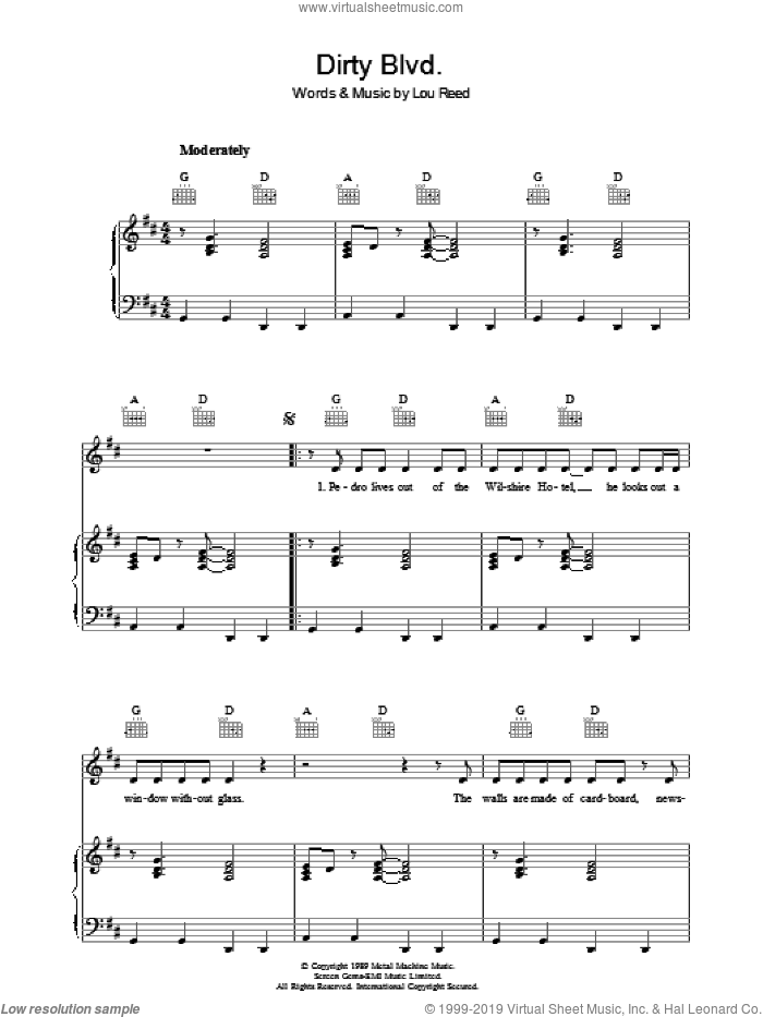 Dirty Blvd. sheet music for voice, piano or guitar by Lou Reed. Score Image Preview.