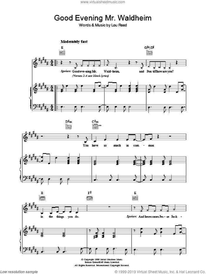 Good Evening Mr. Waldheim sheet music for voice, piano or guitar by Lou Reed, intermediate. Score Image Preview.