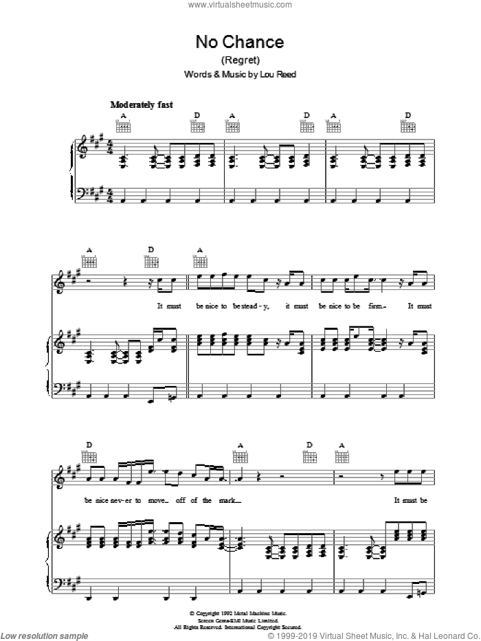 No Chance sheet music for voice, piano or guitar by Lou Reed. Score Image Preview.