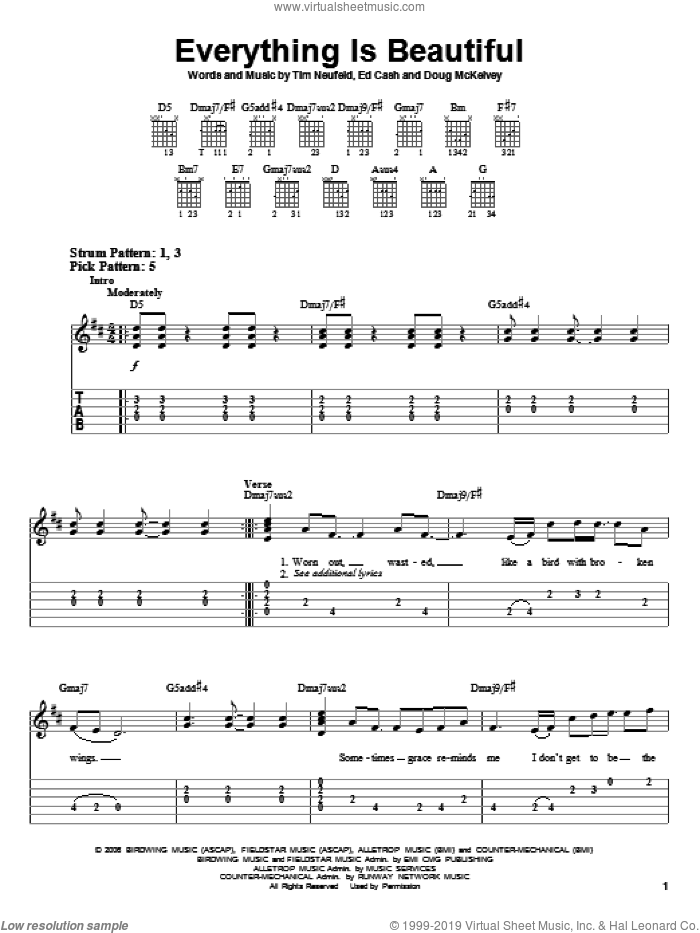 Everything Is Beautiful sheet music for guitar solo (easy tablature) by Starfield and Ed Cash, easy guitar (easy tablature). Score Image Preview.
