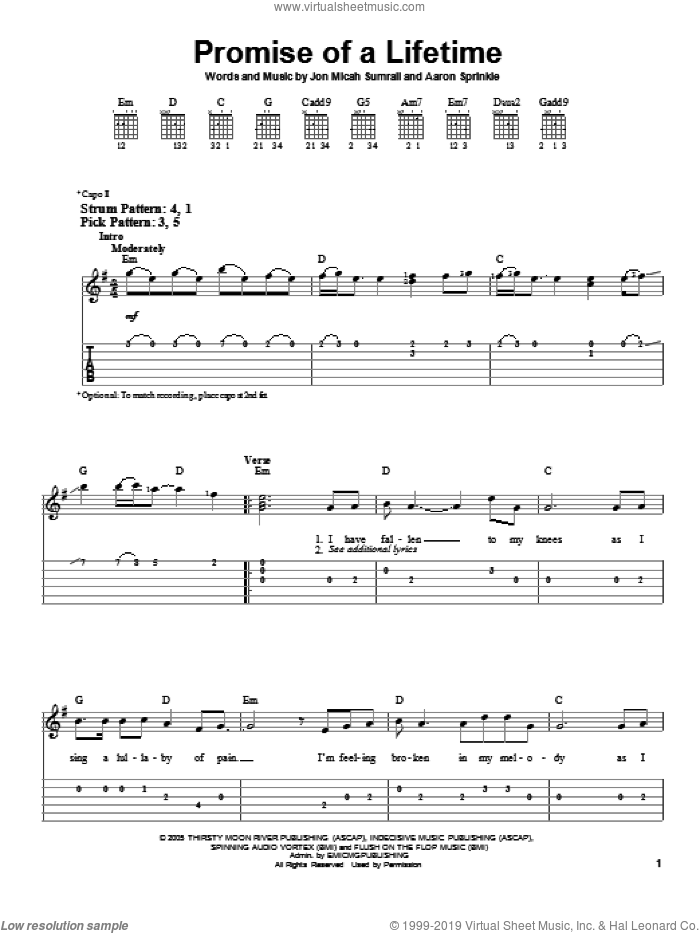 Promise Of A Lifetime sheet music for guitar solo (easy tablature) by Kutless, Aaron Sprinkle and Jon Micah Sumrall, easy guitar (easy tablature)