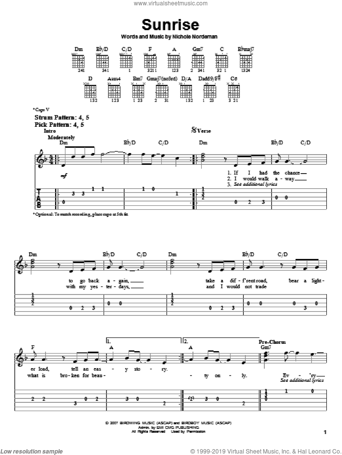 Sunrise sheet music for guitar solo (easy tablature) by Nichole Nordeman. Score Image Preview.