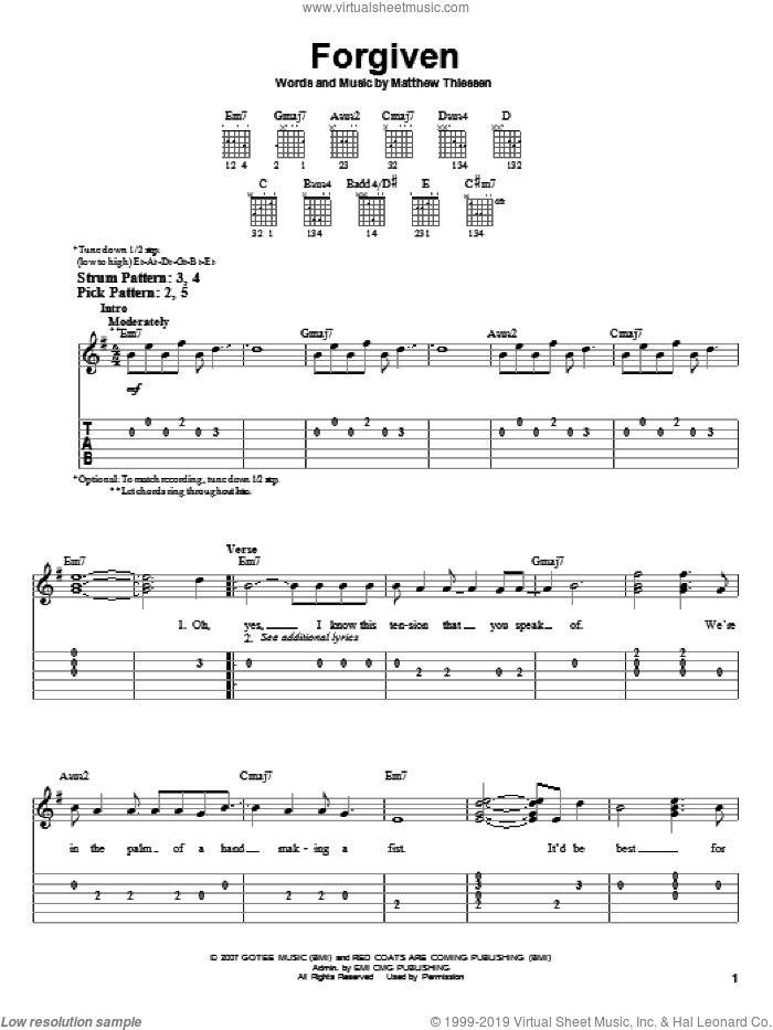 Forgiven sheet music for guitar solo (easy tablature) by Relient K and Matthew Thiessen, easy guitar (easy tablature)