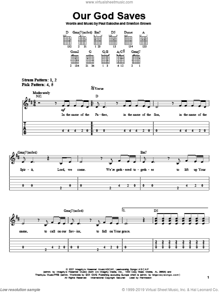 Our God Saves sheet music for guitar solo (easy tablature) by Paul Baloche and Brenton Brown, easy guitar (easy tablature)