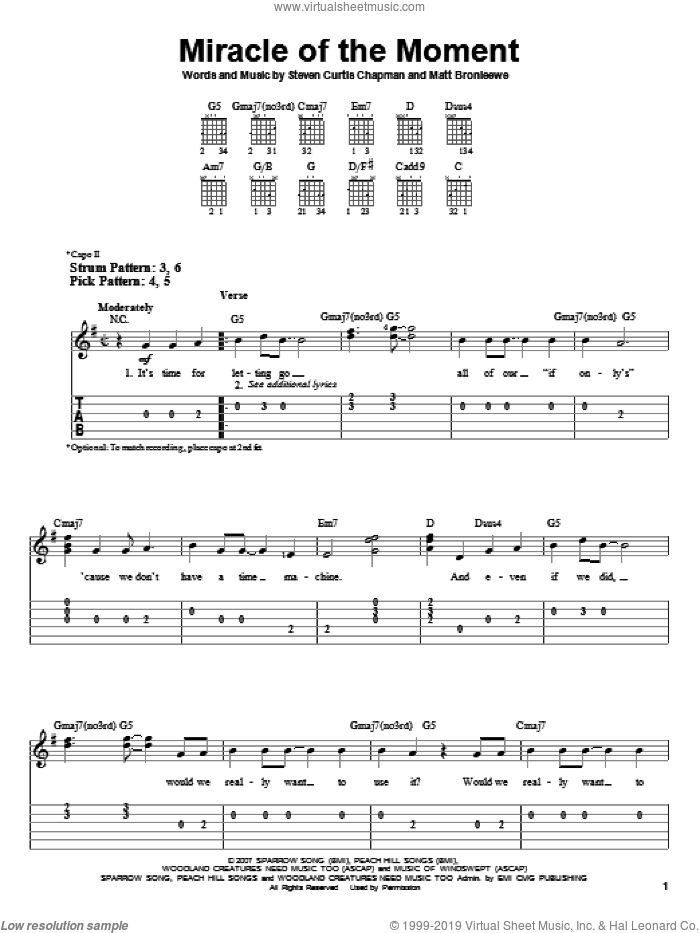 Miracle Of The Moment sheet music for guitar solo (easy tablature) by Steven Curtis Chapman and Matt Bronleewe, easy guitar (easy tablature). Score Image Preview.