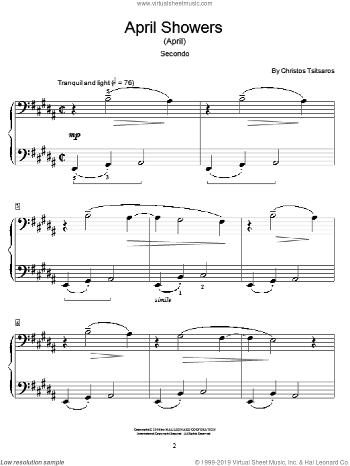 April Showers (April) sheet music for piano four hands (duets) by Christos Tsitsaros