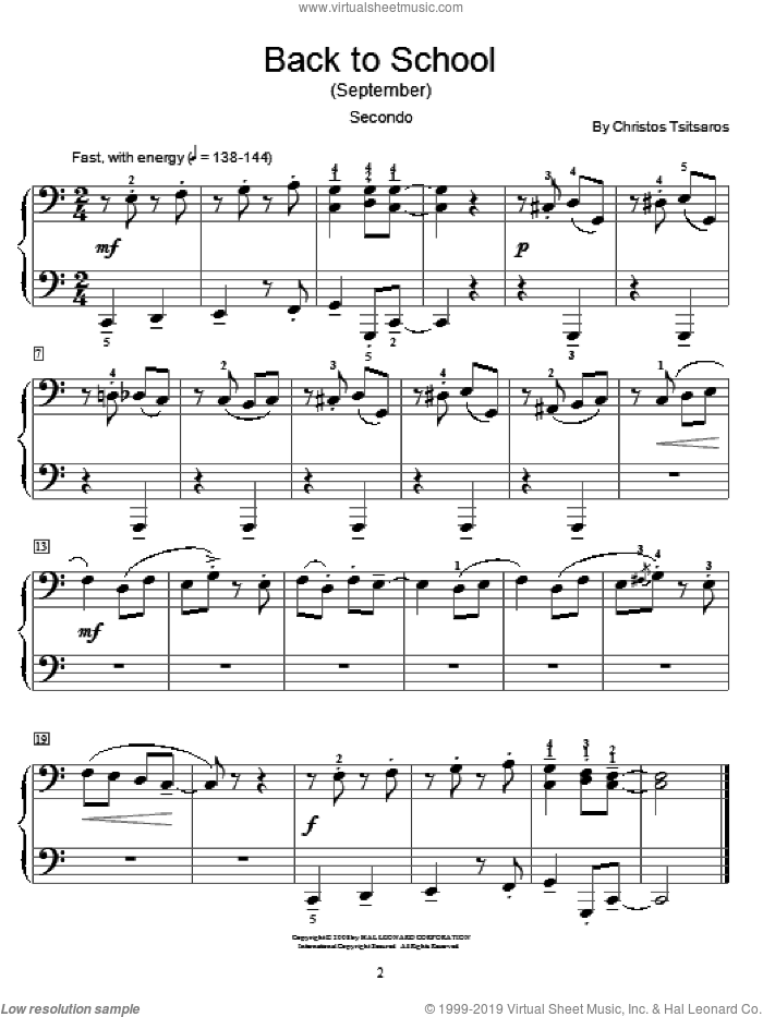 Back To School (September) sheet music for piano four hands (duets) by Christos Tsitsaros
