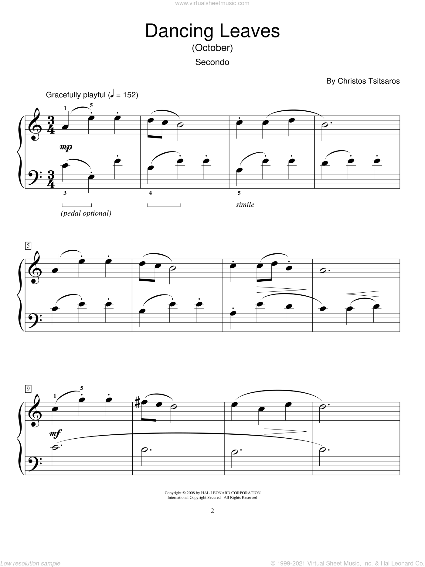 Dancing Leaves (October) sheet music for piano four hands (duets) by Christos Tsitsaros and Miscellaneous. Score Image Preview.