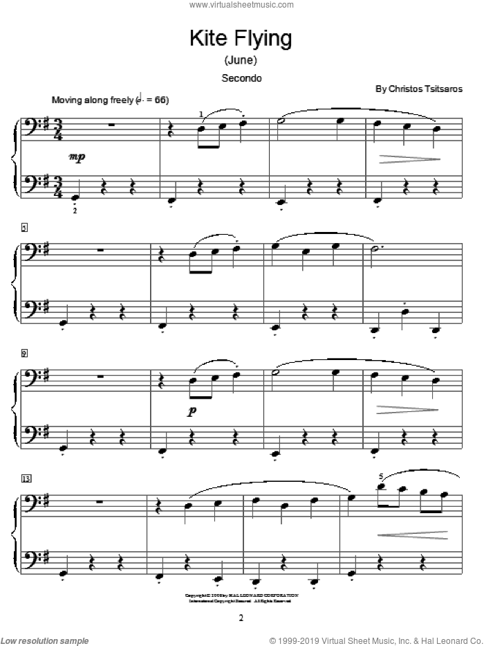 Kite Flying (June) sheet music for piano four hands (duets) by Christos Tsitsaros and Miscellaneous, intermediate piano four hands. Score Image Preview.