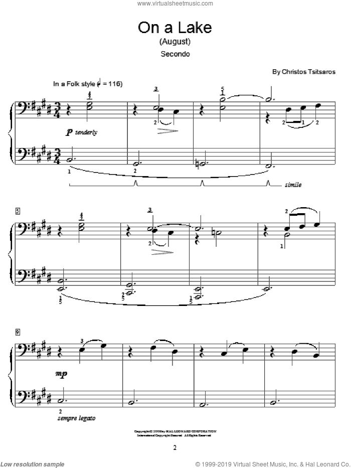 On A Lake (August) sheet music for piano four hands (duets) by Christos Tsitsaros and Miscellaneous. Score Image Preview.