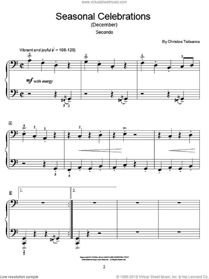 Seasonal Celebrations (December) sheet music for piano four hands (duets) by Christos Tsitsaros and Miscellaneous. Score Image Preview.