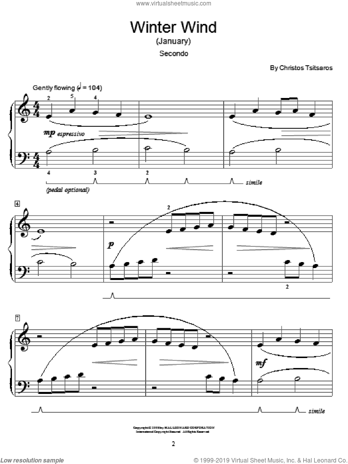 Winter Wind (January) sheet music for piano four hands by Christos Tsitsaros and Miscellaneous, intermediate. Score Image Preview.