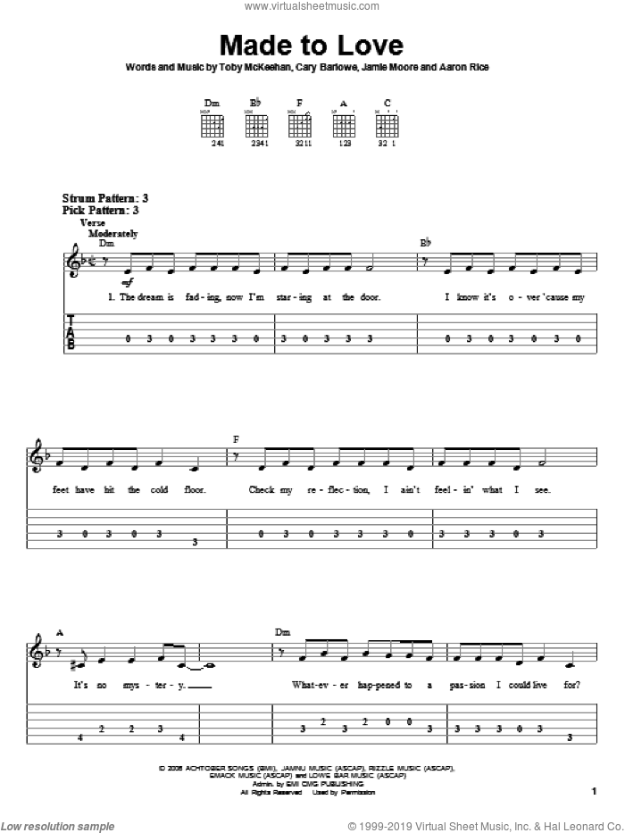 Made To Love sheet music for guitar solo (easy tablature) by tobyMac, Cary Barlowe and Toby McKeehan, easy guitar (easy tablature). Score Image Preview.