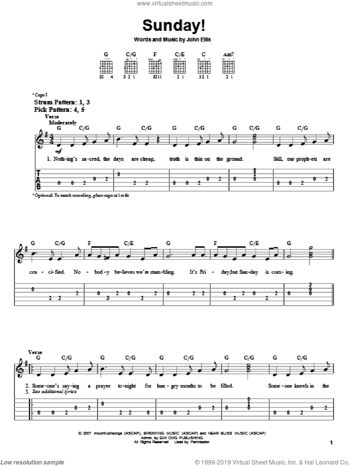 Sunday! sheet music for guitar solo (easy tablature) by Tree63 and John Ellis, easy guitar (easy tablature). Score Image Preview.