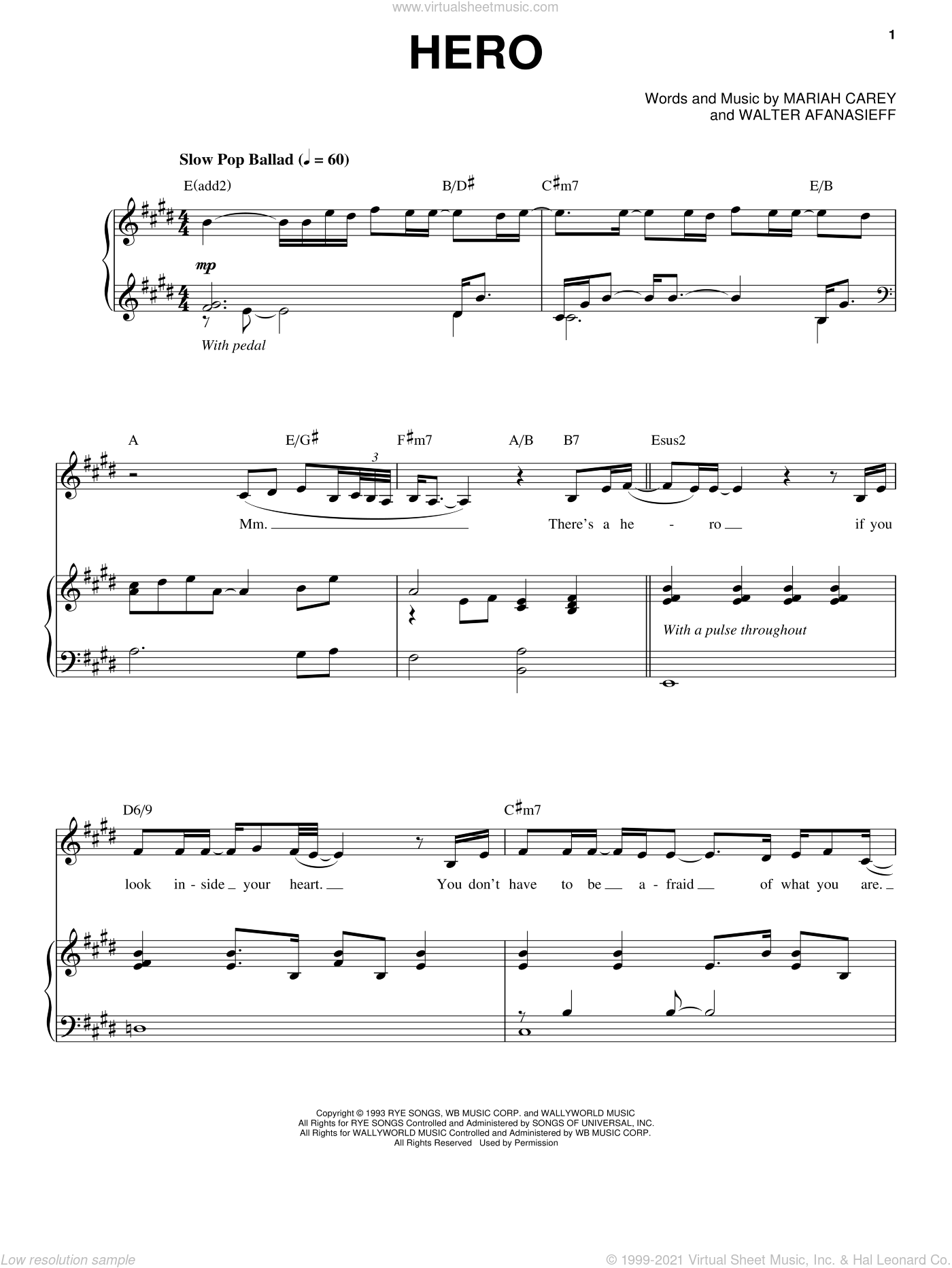 Hero sheet music for voice, piano or guitar by Mariah Carey and Walter Afanasieff, intermediate skill level