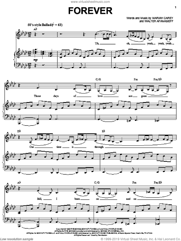 Forever sheet music for voice, piano or guitar by Walter Afanasieff and Mariah Carey. Score Image Preview.