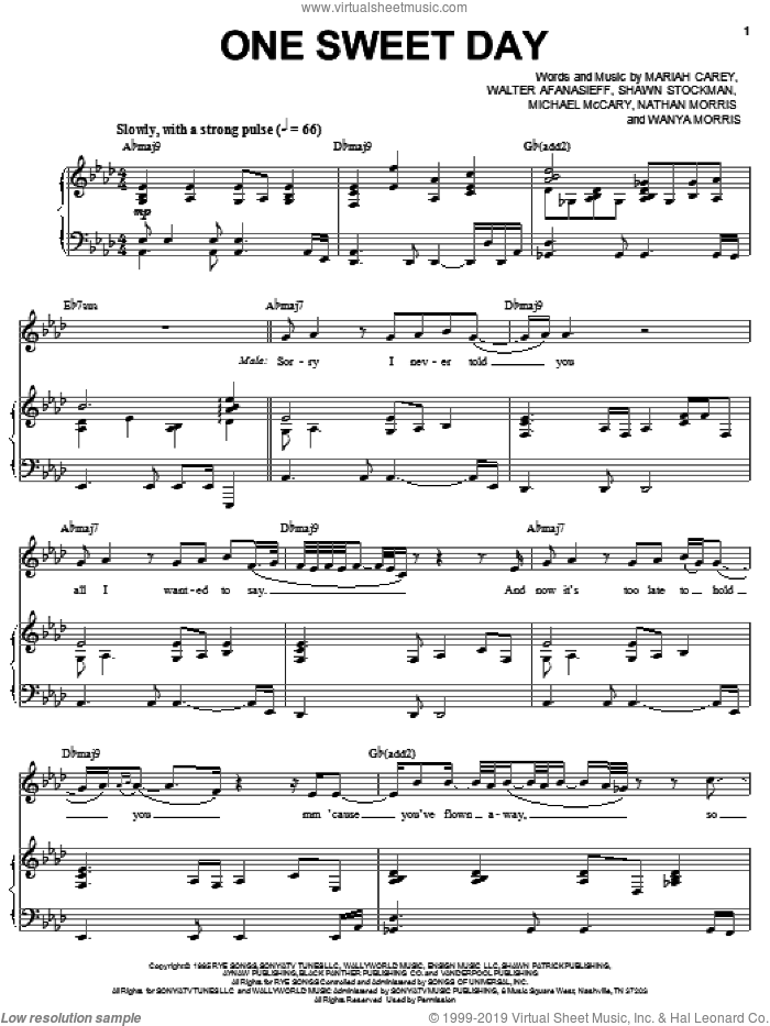 One Sweet Day sheet music for voice, piano or guitar by Wanya Morris, Boyz II Men, Mariah Carey, Nathan Morris, Shawn Stockman and Walter Afanasieff. Score Image Preview.