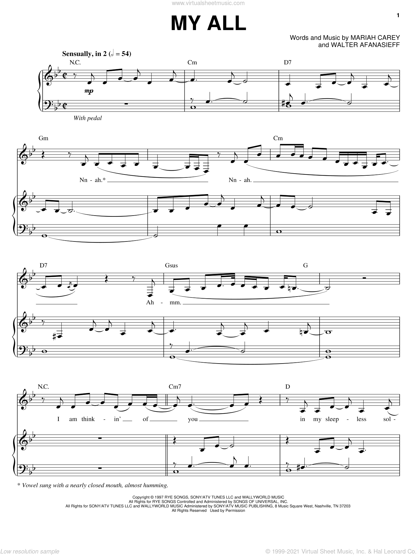 My All sheet music for voice, piano or guitar by Mariah Carey and Walter Afanasieff, intermediate. Score Image Preview.