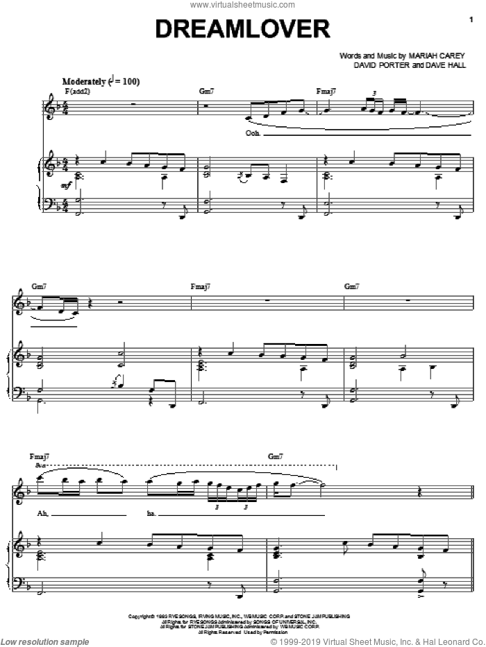 Dreamlover sheet music for voice, piano or guitar by David Porter, Dave Hall and Mariah Carey. Score Image Preview.