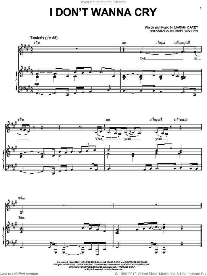 I Don't Wanna Cry sheet music for voice, piano or guitar by Mariah Carey and Narada Michael Walden, intermediate skill level