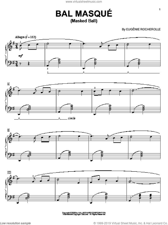 Bal Masque (Masked Ball) sheet music for piano solo by Eugénie Rocherolle and Eugenie Rocherolle, classical score, intermediate piano. Score Image Preview.