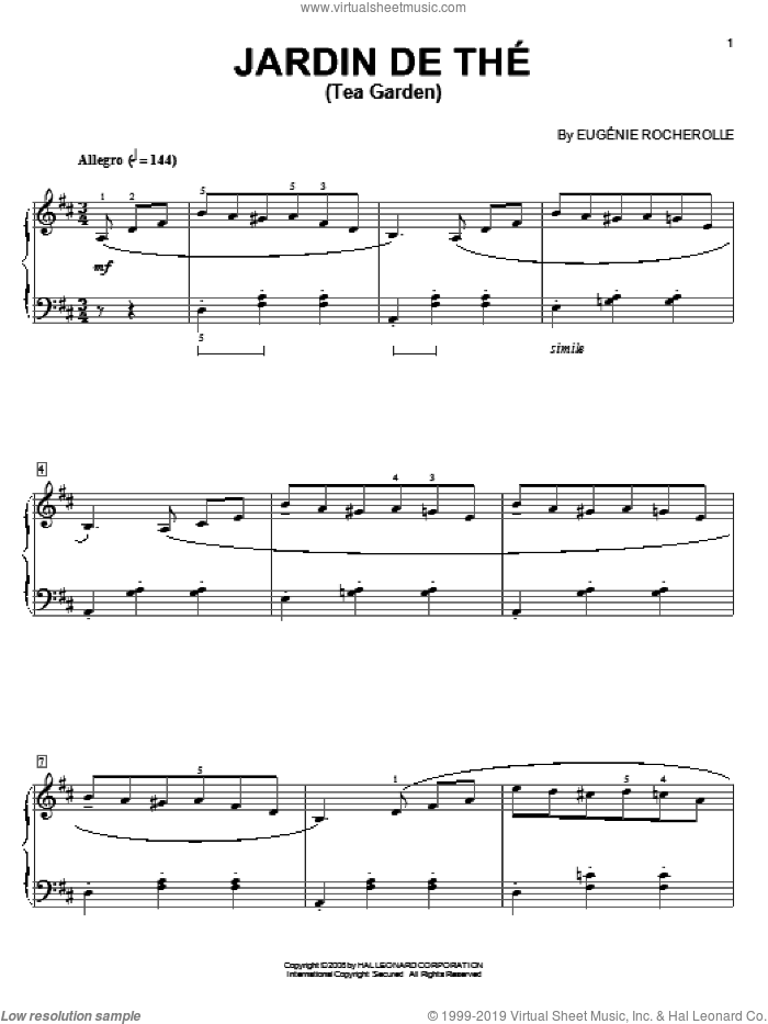 Jardin de The (Tea Garden) sheet music for piano solo by Eugenie Rocherolle, intermediate skill level