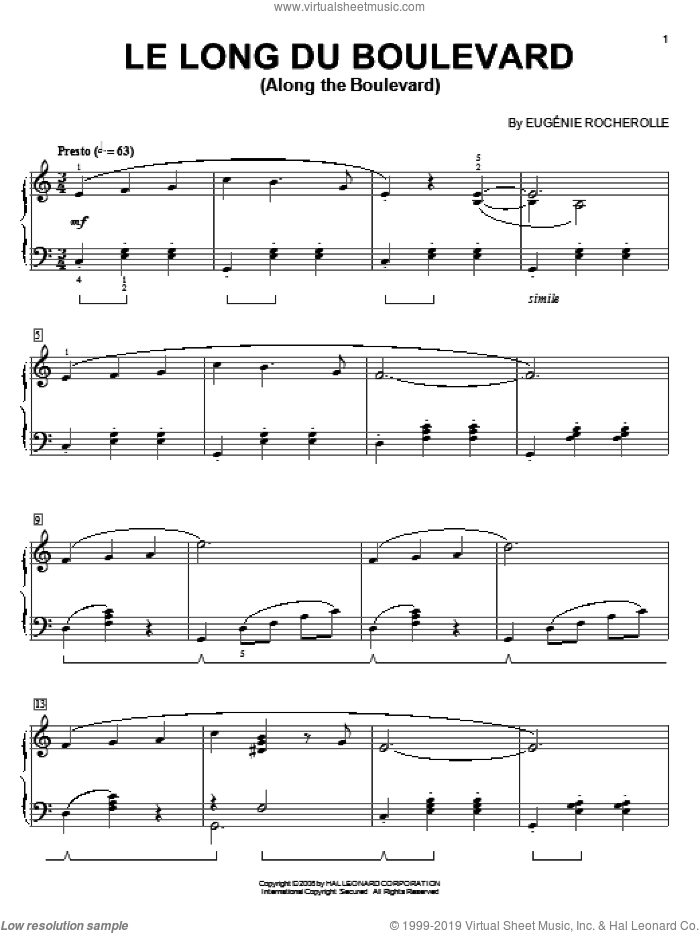 Le Long du Boulevard (Along The Boulevard) sheet music for piano solo by Eugenie Rocherolle. Score Image Preview.