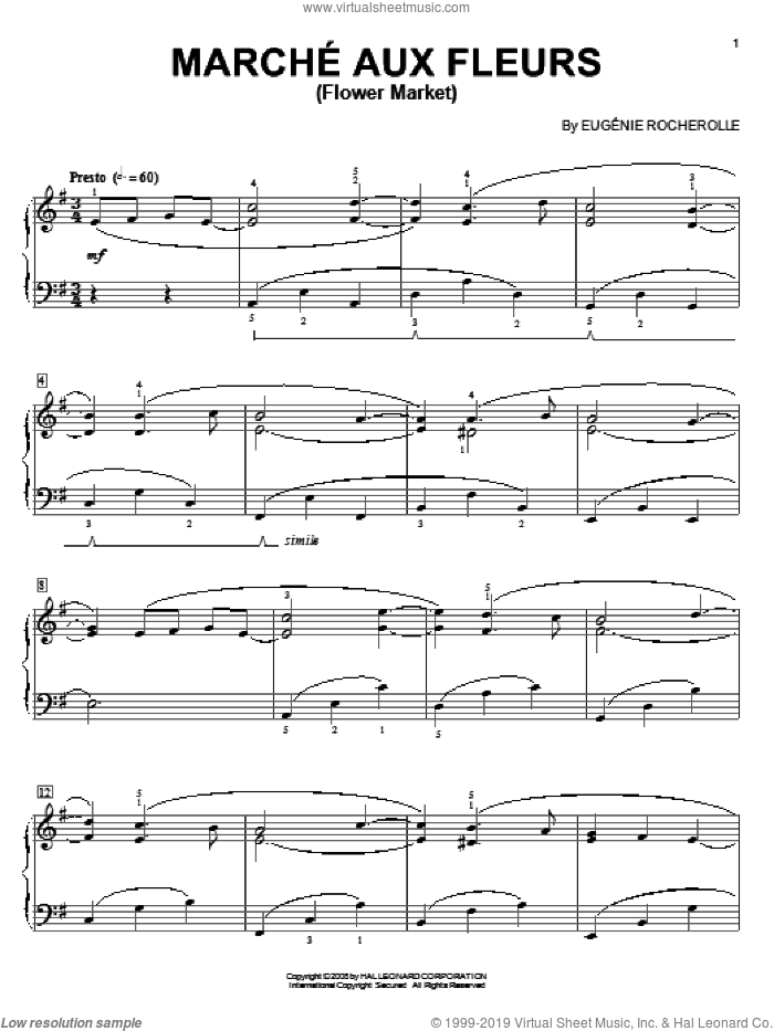 Marche Aux Fleurs (Flower Market) sheet music for piano solo by Eugenie Rocherolle. Score Image Preview.