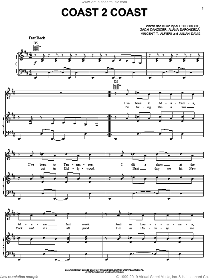 Coast 2 Coast sheet music for voice, piano or guitar by Zach Danziger