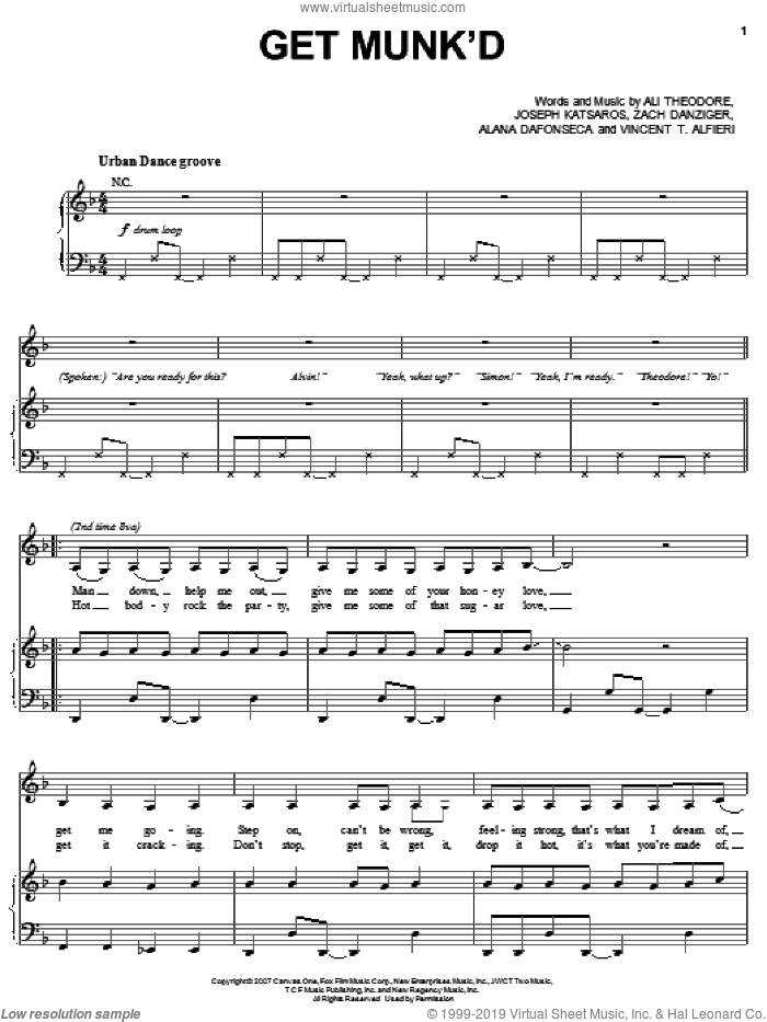 Get Munk'd sheet music for voice, piano or guitar by Zach Danziger, Ali Theodore, Joseph Katsaros and Vincent T. Alfieri. Score Image Preview.