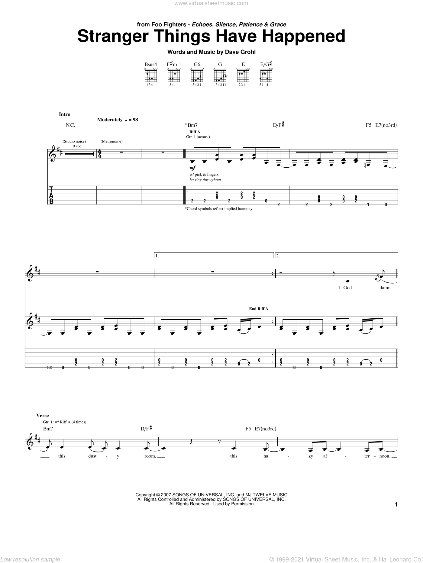 Stranger Things Have Happened sheet music for guitar (tablature) by Dave Grohl and Foo Fighters. Score Image Preview.