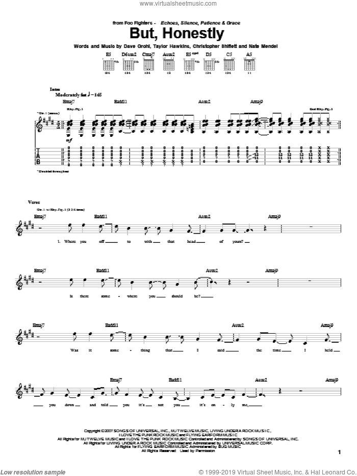 But, Honestly sheet music for guitar (tablature) by Foo Fighters, intermediate guitar (tablature). Score Image Preview.