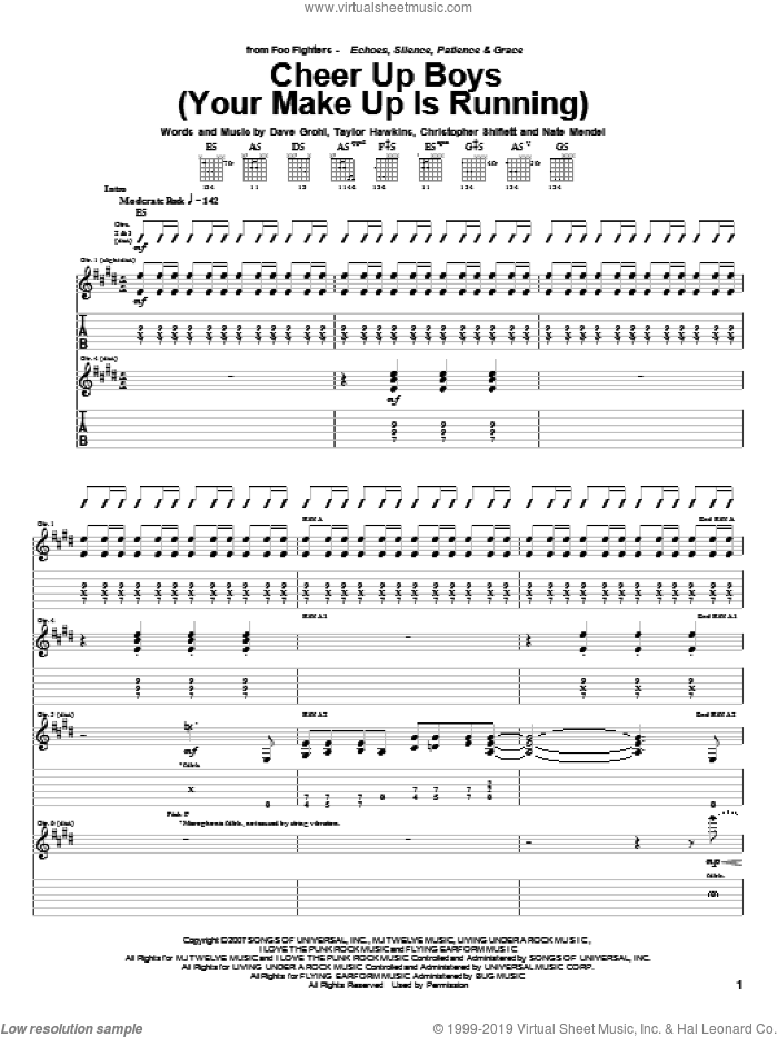 Cheer Up Boys (Your Make Up Is Running) sheet music for guitar (tablature) by Taylor Hawkins, Foo Fighters, Dave Grohl and Nate Mendel. Score Image Preview.