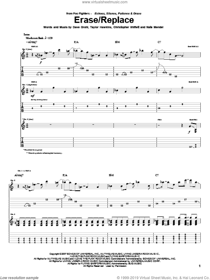 Erase/Replace sheet music for guitar (tablature) by Foo Fighters. Score Image Preview.