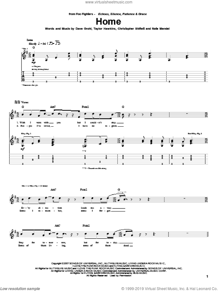 Home sheet music for guitar (tablature) by Taylor Hawkins, Foo Fighters, Dave Grohl and Nate Mendel. Score Image Preview.