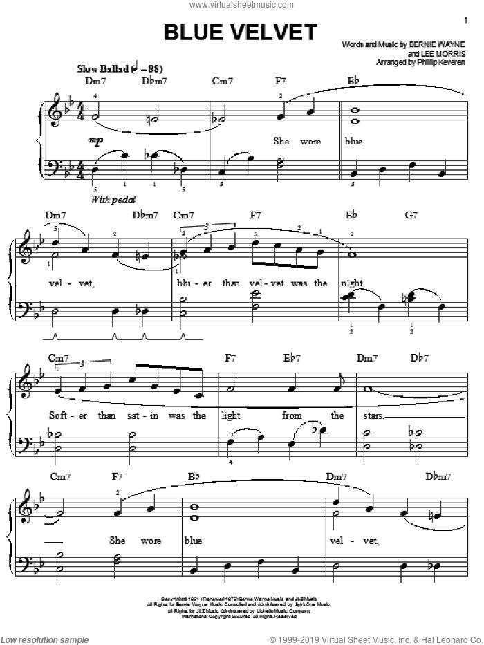 Blue Velvet sheet music for piano solo by Bobby Vinton, Phillip Keveren, Tony Bennett, Bernie Wayne and Lee Morris, easy skill level