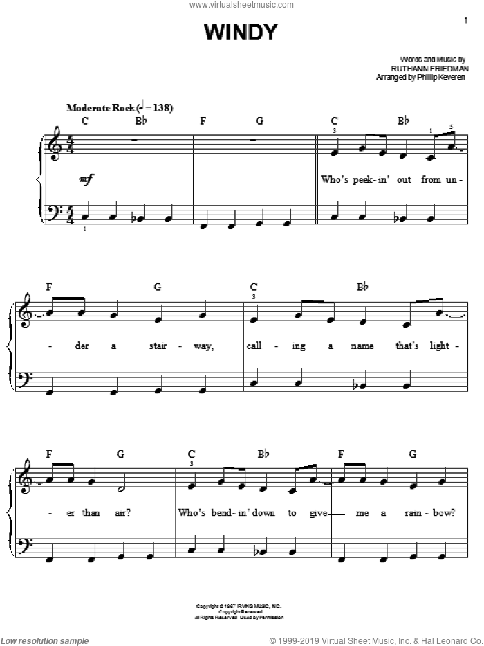 Windy sheet music for piano solo (chords) by Ruthann Friedman